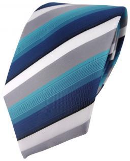 TigerTie Designer Krawatte in türkis petrol grau weiss gestreift -Tie Binder
