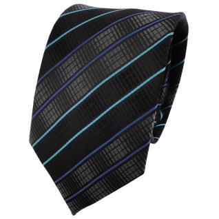 TigerTie Designer Krawatte schwarz anthrazit türkis blau gestreift - Binder Tie