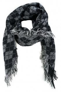 Halstuch in schwarz grauweiss gemustert mit Fransen - Halstüchgröße 100 x 100 cm