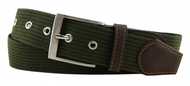 TigerTie - Stoffgürtel in grün olivgrün einfarbig - Bundweite 110 cm