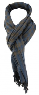 TigerTie Designer Schal in blau braun grau kariert mit Fransen - Gr. 180 x 50 cm