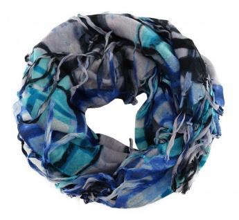 Halstuch in blau grau flieder mint schwarz kariert gemustert mit Fransen