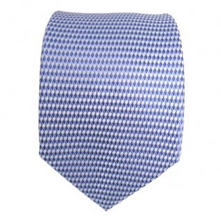 Designer Seidenkrawatte blau hellblau silber gemustert - Krawatte Schlips Binder - Vorschau 2