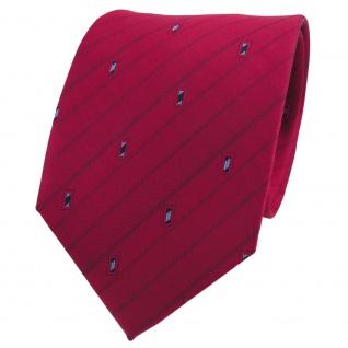 TigerTie Seidenkrawatte rot rubinrot blau silber gemustert - Tie Krawatte Seide