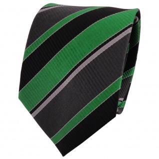 TigerTie Seidenkrawatte grün grau anthrazit schwarz gestreift - Krawatte Seide
