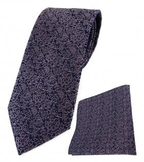 TigerTie Designer Krawatte + Einstecktuch rosa flieder schwarz florales Muster