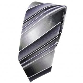 schmale TigerTie Krawatte grau silber anthrazit hellgrau gestreift - Tie Binder