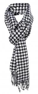 Schal in schwarz weiß gemustert mit Fransen - Gr. 180 x 30 cm