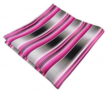 TigerTie Designer Seideneinstecktuch in rosa pink magenta grau silber gestreift