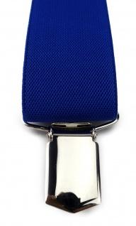 TigerTie Unisex Hosenträger mit 3 extra starken Clips - blau royal Uni - Vorschau 3