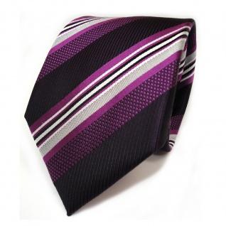Designer Seidenkrawatte lila violett silber weiss schwarz gestreift - Krawatte
