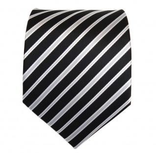 3er Set TigerTie Krawatte + Einstecktuch + Box in schwarz silber grau gestreift - Vorschau 5