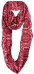 Loop Schal Halstuch in rot rosé gemustert mit Fransen - Größe 180 x 50 cm