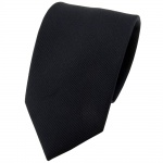 Seidenkrawatte schwarz Uni Rips - Krawatte 100% Seide - Breite 7cm x 150cm Länge