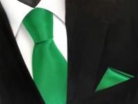 schöne TigerTie Krawatte + Einstecktuch grün leuchtgrün uni, Tie 100% Polyester
