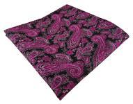 TigerTie Designer Einstecktuch magenta schwarz silber Paisley - Gr. 30 x 30 cm