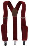 breiter Hosenträger in rot bordeaux Uni mit Clip - verstellbar 75 bis 120 cm