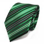 TigerTie Designer Seidenkrawatte grün schwarz silber gestreift - Krawatte Seide