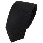 schmale Seidenkrawatte in schwarz Uni gepunktet - Krawatte 100% reine Seide