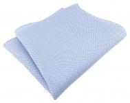 TigerTie Einstecktuch 100% Baumwolle - Pique hellblau-weiss gemustert - 30x30 cm