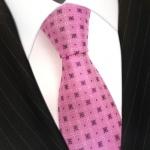 Seidenkrawatte pink rosa lila violett Karo Muster - Krawatte 100 % Seide Silk