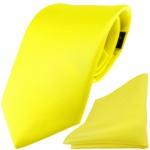 TigerTie Satin Seidenkrawatte + Seideneinstecktuch gelb zitronengelb einfarbig