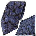 TigerTie Designer Krawatte + Einstecktuch blau schwarz silber Paisley gemustert