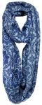 Loop Schal Halstuch in blau hellblau gemustert mit Fransen - Größe 180 x 50 cm