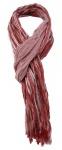 TigerTie - gecrashter Designer Schal in rot weiß gestreift mit kleinen Fransen