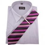 TRAVELMASTER Business Herrenhemd silber Hemd Gr.43/44 XL kurzarm Krawatte Nadel