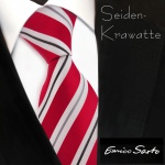 Enrico Sarto hochwertige Seidenkrawatte rot knallrot silber grau weiß gestreift