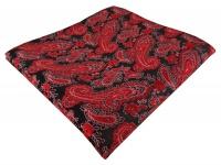 TigerTie Designer Einstecktuch in rot schwarz silber Paisley - Gr. 30 x 30 cm