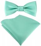 SET Kleinkinder Baby Fliege in grün mint Fliege verstellbar + Einstecktuch + Box