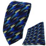 TigerTie Krawatte + Einstecktuch in blau türkis schwarz gold gestreift