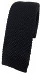 hochwertige TigerTie Strickkrawatte in schwarz einfarbig Uni - Krawatte