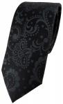 schmale TigerTie Designer Kinderkrawatte in schwarz anthrazit Paisley gemustert