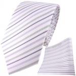 TigerTie Krawatte + Einstecktuch in lila weiss flieder silber gestreift