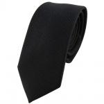 schmale Seidenkrawatte in schwarz Feinrips Uni - Krawatte 100% reine Seide