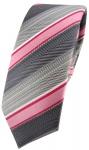 schmale TigerTie Seidenkrawatte in rosa rot grau silber anthrazit gestreift