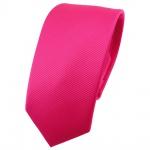 Schmale TigerTie Krawatte pink knallpink leuchtpink einfarbig uni Rips - Binder