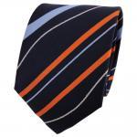 TigerTie Seidenkrawatte orange blau royal silber gestreift - Krawatte 100% Seide