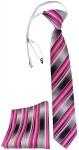 TigerTie Security Sicherheits Krawatte + Einstecktuch rosa pink grau gestreift