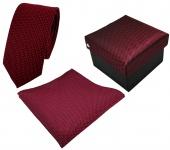 3er Set schmale TigerTie Krawatte + Einstecktuch + Box in rot schwarz gestreift
