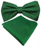 Designer Seidenfliege + Seideneinstecktuch in grün smaragdgrün blau gepunktet