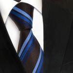 TigerTie Designer Seidenkrawatte blau braun schwarzbraun gestreift - Krawatte