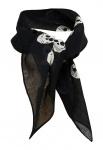 feines Damen Chiffon Nickituch in schwarz beige Motiv Totenkopf - Gr. 53 x 53 cm