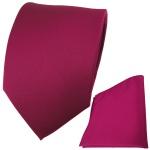 TigerTie Krawatte + Einstecktuch in beere feinrips uni einfarbig