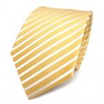 TigerTie Designer Seidenkrawatte gelb blassgelb weiss gestreift - Krawatte Seide