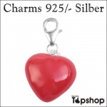 Charms 925/-, echt Silber, Herz groß 1, 5 cm x 1, 5 cm