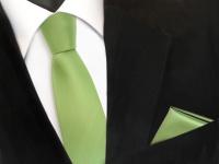 schmale TigerTie Schlips Krawatte + Einstecktuch grün hellgrün uni Binder